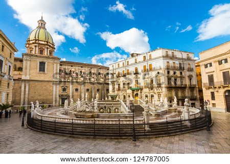 In the heart of Palermo's loveliest square, Piazza Pretoria, stands this magnificent fountain, Fontana Pretoria, work of the Florentine sculptor Francesco Camilliani. Palermo, Sicily, Italy.