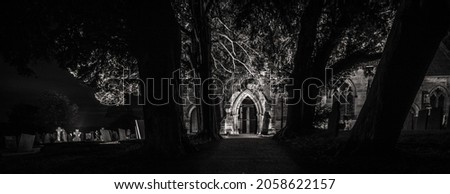 In the night ,St Michael's Church, Sutton-on-the-Hill, UK autumn 2021. Stock fotó ©