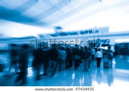 In the queue for the passengers in the airport security check - stock photo