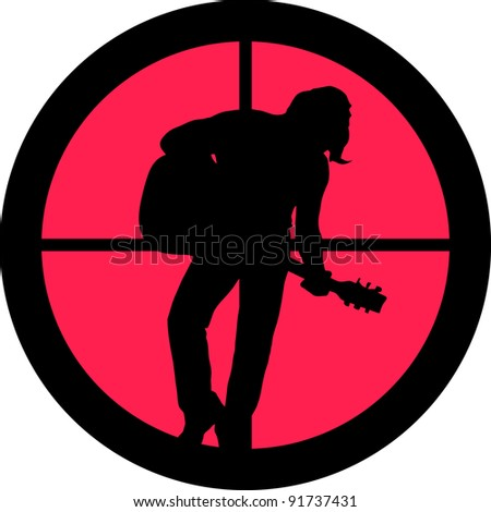 In the scope series - Rocker (guitar player) in the cross-hair of a gun?s telescope. Can be symbolic for need of protection, being tired of, intolerance or being under investigation.