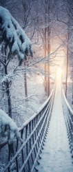 In the snowy winter forest hangs a rope bridge. Snowy fir trees line the path. Bridge from the Rothaarsteig in Sauerland, Germany.