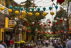 In the streets of Hoi An Vietnam at daytime