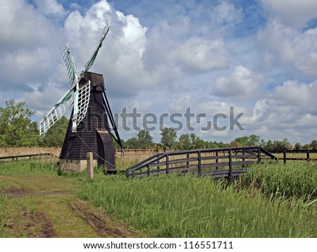 In the 17th century many thousand wind driven drainage pumps like this one at Wicken were used to drain the fens. This is the last one to survive,