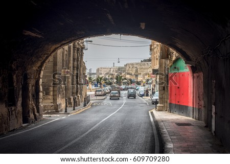 In the tunnel in Valetta city near embankment, Malta #609709280
