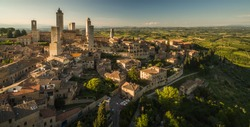 In the very heart of Tuscany - Aerial view of the medieval town of Montepulciano, Italy