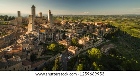 In the very heart of Tuscany - Aerial view of the medieval town of Montepulciano, Italy #1259669953