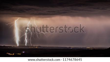 in this picture we can see a thunderbolt in a big storm.