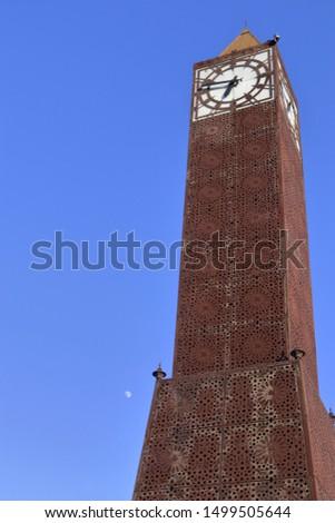 in Tunis, Tunisia The clock tower in  Beb Bhar Habib Bourguiba in the capital city of Tunisia the old center of Tunis Tunisia. Foto stock ©
