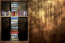 In - wall Bookshelf and The World, (John 3:16)