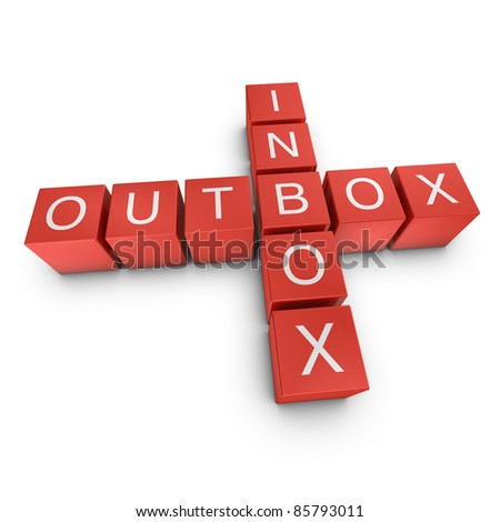 Inbox and outbox crossword on white background, 3D rendered illustration