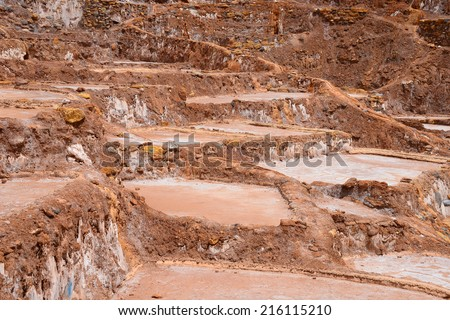 inca ancient salt production farm at Peru #216115210
