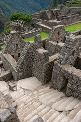 Inca city of Machu Picchu in Peru, South America. Although known locally, it was not known to outside world until American explorer Hiram Bingham brought it to international attention in 1911.