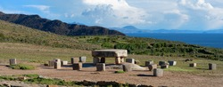 Inca prehistoric ruins on Island of Sun (Isla del Sol), Stone table - sacrificial altar, ruins on the on Titicaca lake in Bolivia