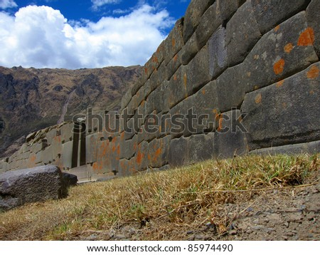 Inca ruined fortress at Ollantaytambo, in Sacred Valley near Cuzco, Peru - stock photo