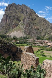 Inca ruins and the town of Ollantaytambo in the Sacred Valley of the Incas - Urubamba Province, Peru, South America.