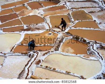 Inca Salt pans at Maras, near Cuzco in Sacred Valley, Peru