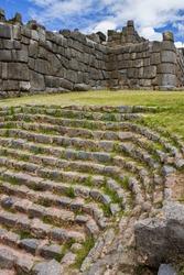 Inca stonework at Sacsayhuaman near Cusco in Peru, South America.