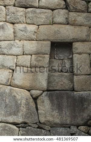 Inca temple at the lost city of Machu Picchu, Peru #481369507