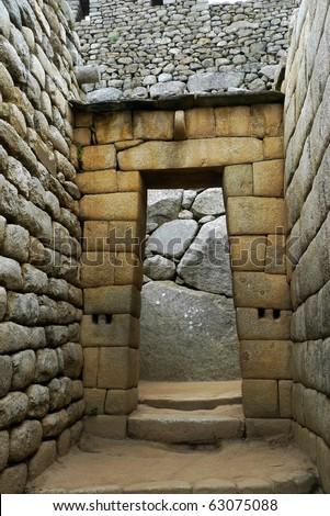 Inca temple doorway at Machu Picchu, Peru