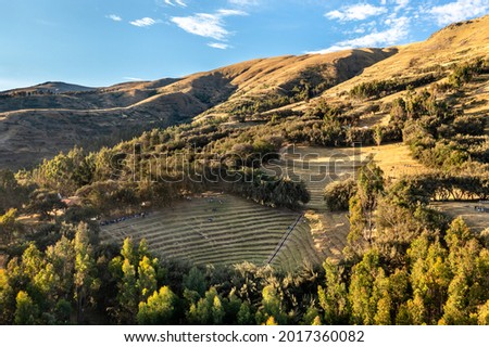 Incan terraces at Bosque Dorado near Huancayo, Peru Foto stock ©