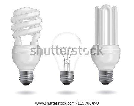 Incandescent and fluorescent energy efficiency light bulbs. Vector version also available in my portfolio.