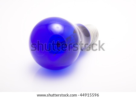 Incandescent bulb blue on a white background