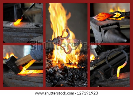 Incandescent element in the smithy on the anvil