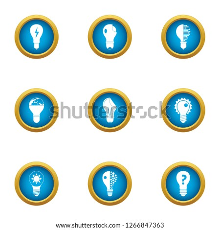 Incandescent lamp icons set. Flat set of 9 incandescent lamp icons for web isolated on white background