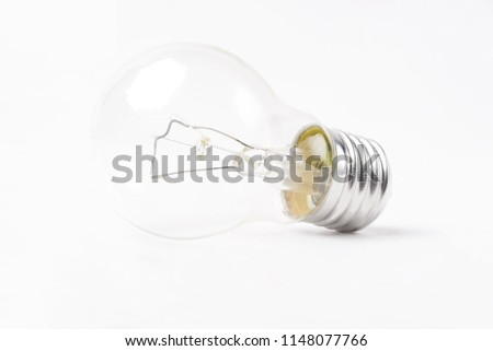 Incandescent lamp on a white isolated background