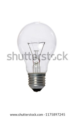 Incandescent lamp with transparent glass bulb and E27 europe connection. Old standard of consumption obsolete and prohibited by current regulations.
