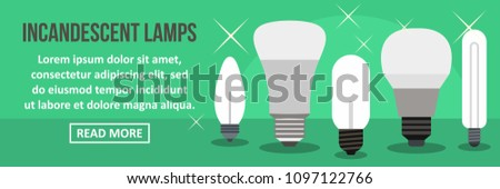 Incandescent lamps banner horizontal concept. Flat illustration of incandescent lamps banner horizontal concept for web design