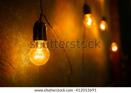 Incandescent lamps in a modern studio. Edison lamp.