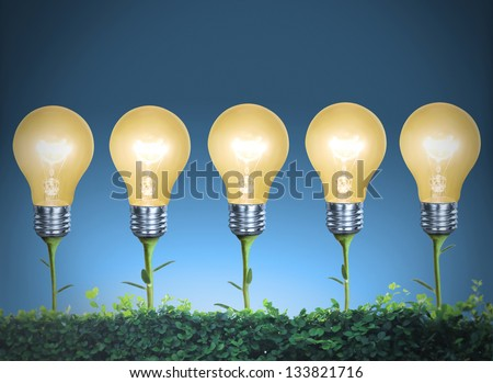 Incandescent light bulb with plant as the filament