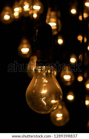 Incandescent light bulbs switched on