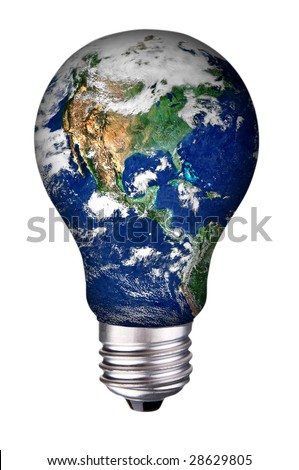 incandescent lightbulb with earth inside isolated over white with a clipping path
