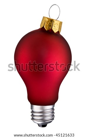 incandescent lightbulb with holiday ornament inside isolated over white with a clipping path