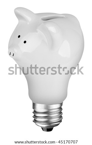 incandescent lightbulb with Piggybank inside isolated over white with a clipping path