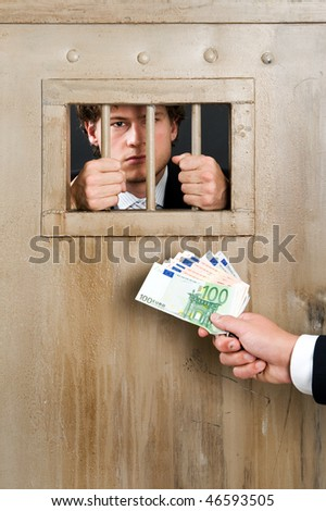 Incarcerated white collar criminal, clutching the bars of a cell door, with a hand holding a substantial amount of cash as bribe