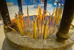 Incense area in Ngong Pin, Lantau Island for visitors to pray in Po Lin Monastery, Lantau Island in Hong Kong