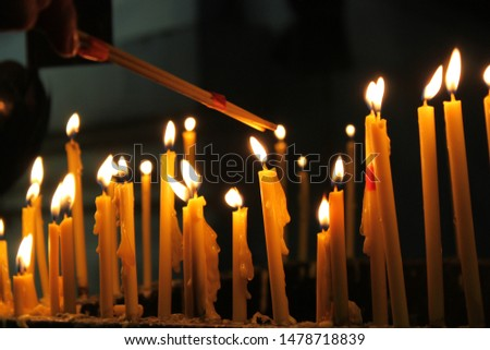 Incense points for worshiping Close up picture of Flame candle Cluster of candle