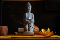 Incense Stick Burning Close Up With Smoke Coming Out Zen Background
