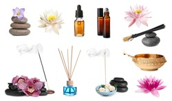 Incense sticks and other items for aromatherapy on white background, collage