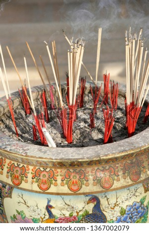 Incense sticks in a temple in Songkhla, Thailand, Southeast Asia, Asia