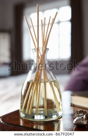 Incense sticks on bedside table