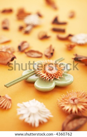 Incense sticks on the orange table with dried flowers