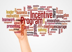 Incentive program word cloud and hand with marker concept on white background.