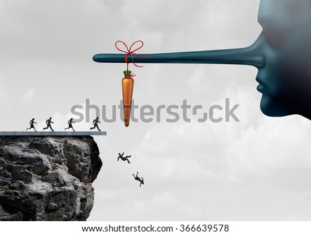 Incentive trap and corrupt leader business concept as a group of people running towards a carrot tied to a liar nose and fooled into fall off a cliff as a metaphor for entrapment.