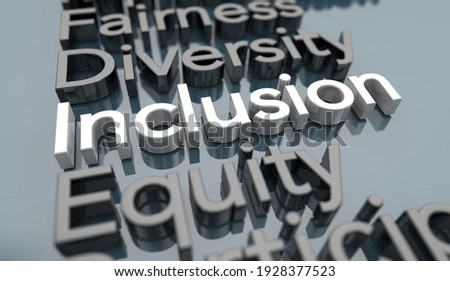 Inclusion Policy Welcome Inclusive Organization DEI Diversity Equity Words 3d Illustration