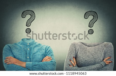 Incognito man and woman with crossed hands and drawn question marks instead of head. Introvert couple problem and solution concept. Hidden faces like no identity mask. Modern social issue.