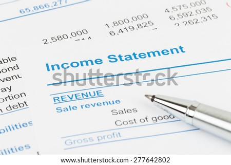 "stock and income statement An income statement or profit and loss account diluted: in this case ""weighted average of shares outstanding"" is calculated as if all stock options."